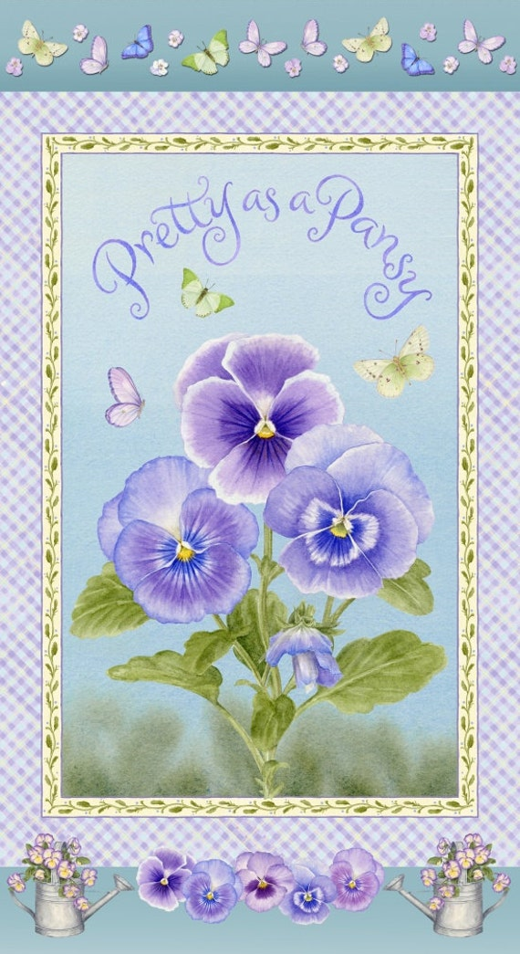 Henry Glass Pretty as A Pansy Fabric 1015P