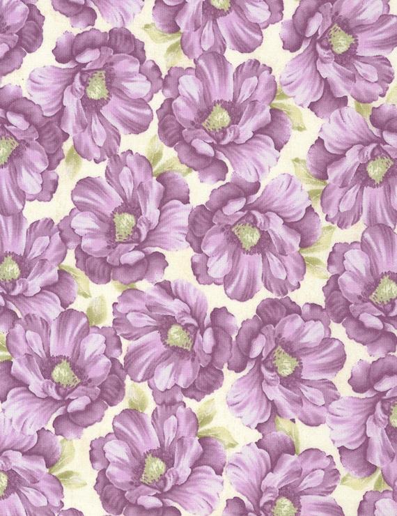 Veranda Cream with Purple Flowers Fabric by Timeless Treasure 2