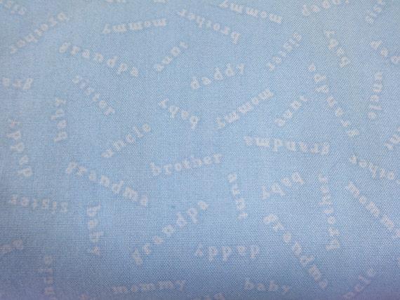VIP Fabrics Blue Family Names Baby Coordinates  Fabric 348