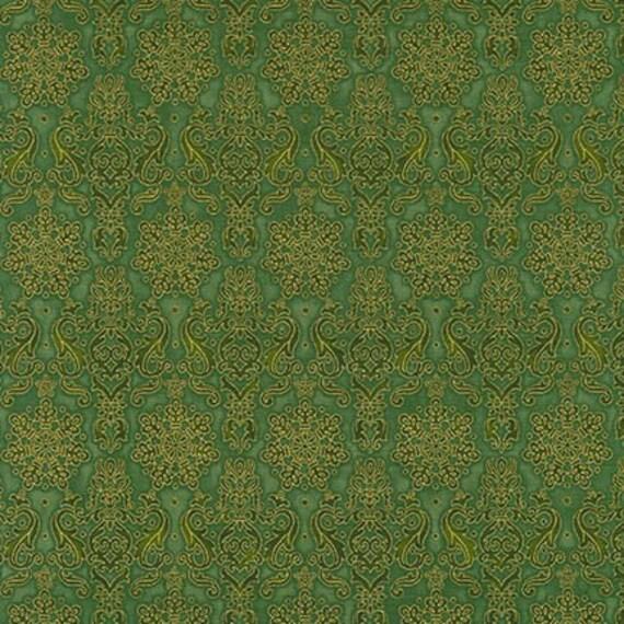 Winter's Grandeur 4 gold/green Fabric  By Robert Kaufman