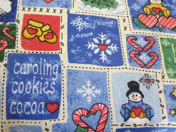 White & Blue Winter Wonderland Fabric 257