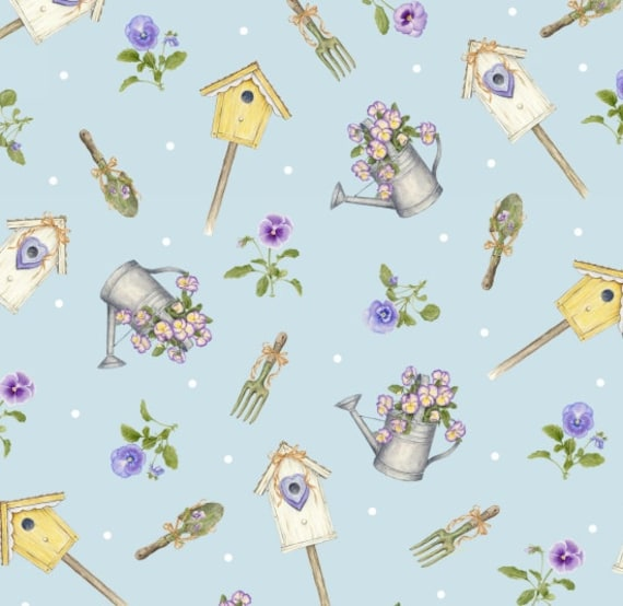 Henry Glass Pretty as A Pansy Fabric Birdhouse 1010