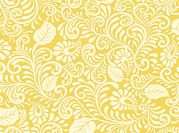 Quilting Treasures Moonflower Coordinates-Yellow & White Leaf Scroll Fabric 100
