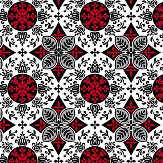Henry Glass & Co Black, White and Red Hot Fabric Collection Number 1