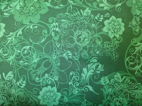Quilting Treasures Masquerade Phantom Dark Green Fabric 392