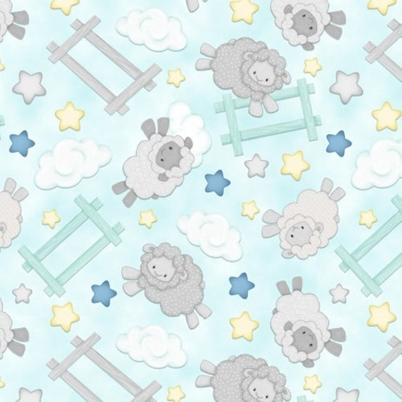 Henry Glass & Co Sleepy Bear Flannel Jumping Sheep Fabric