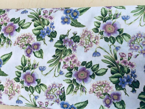 Avery Hill Metallic Blossom Fabric Cream with Flowers
