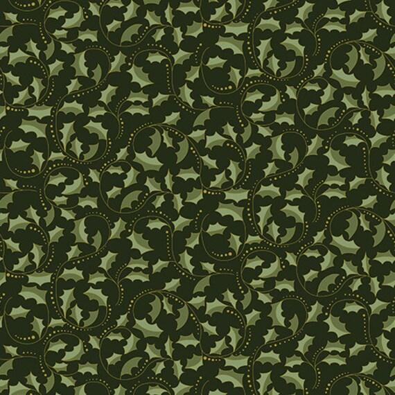 Festive Season II Holly Green Scroll Fabric by Benartex