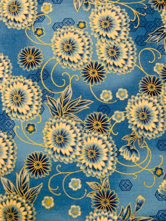 RK Imperial Indigo Metallic Blue Background Floral Fabric