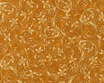 Winter's Grandeur 4 gold Fabric  By Robert Kaufman