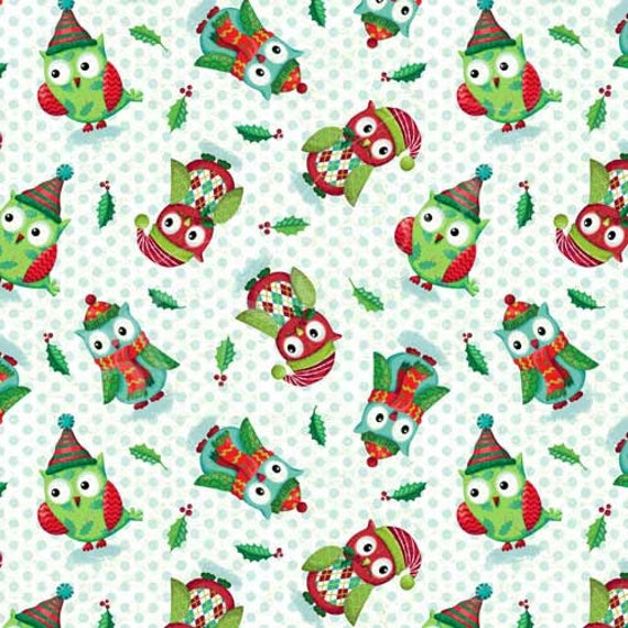 SPX Fabrics Owl be Home for Christmas 545 Christmas Owls