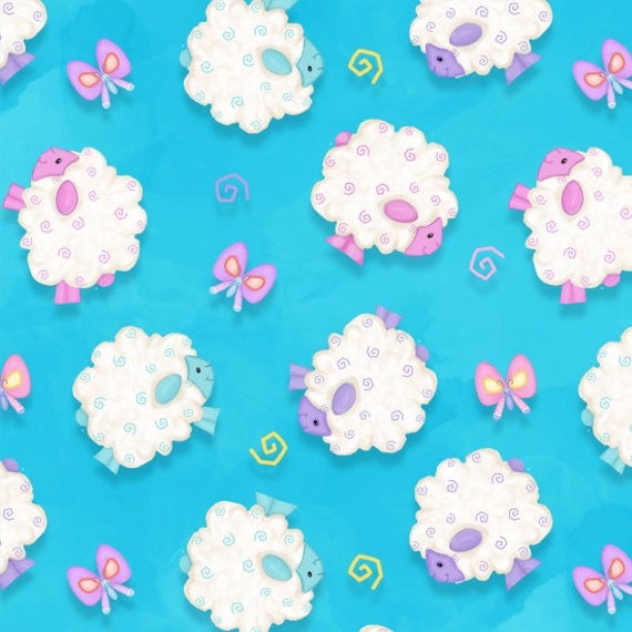 Hop To It Easter Sheep Fabric by Henry Glass