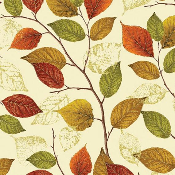 Autumn Splendor Metalic Gold Leaves Fabric  By Kanvas