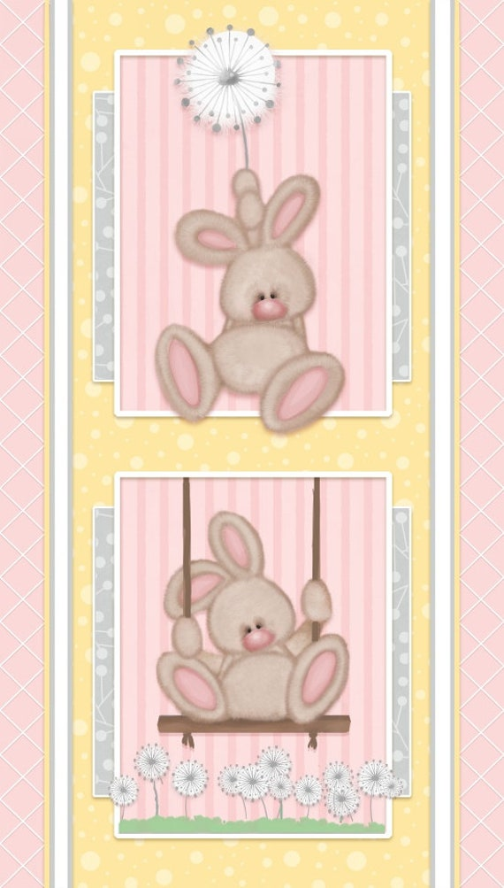 Henry Glass & Co Fluffy Bunny Flannel Fabric Panel