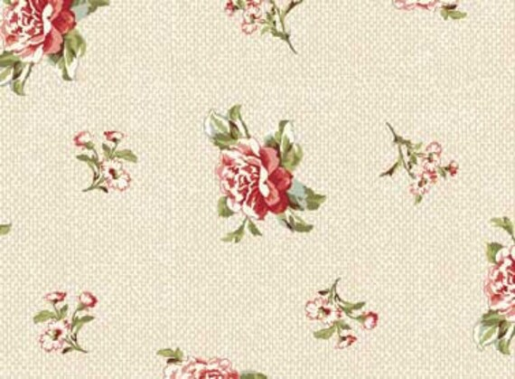 Mrs Miniver Fabric Red Rooster Floral