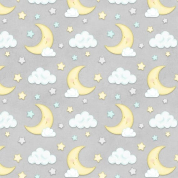 Henry Glass & Co Sleepy Bear Flannel Moon and Clouds  Fabric