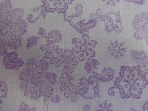 Quilting Treasures Lavender Floral Filigree Fabric 253