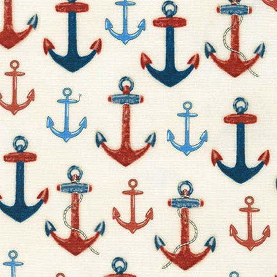 Robert Kaufman Down By the Sea Anchors Fabric  4 Colors 16031-9