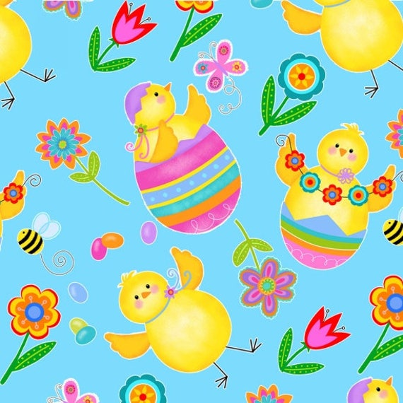 Spring Has Sprung Easter Baby Chicks Fabric by Studio E