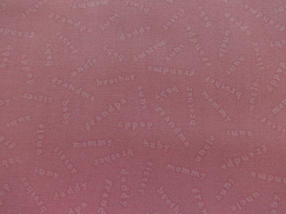 VIP Fabrics Pink Family Names Baby Coordinates 247