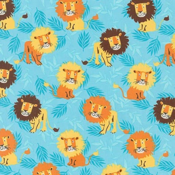 Baby zoo animal Robert Kaufman 15986-268 Lions Fabric  Nature Collection