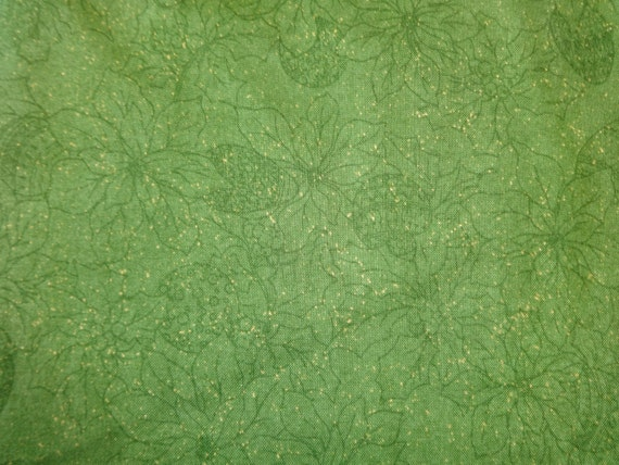 Quilting Treasures Dark Green w/Green Poinsettas & Gold Sparkle  Fabric 492