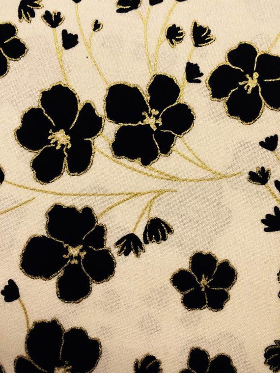 New Traditions White Black & Gold Metallic Flowers  by Kanvas