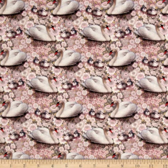 Stof Fabrics Pink Floral Swans & Ducklings Fabric Collection