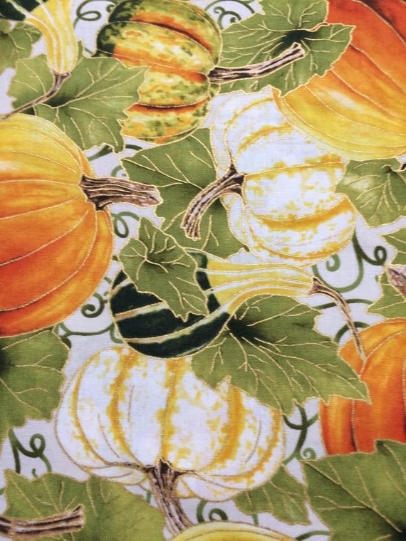 Autumn Metallic Leaves  Scroll  Fabric By RJR