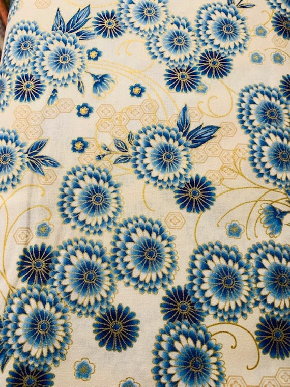 Robert Kaufman Imperial Indigo Metallic Blue Floral Fabric