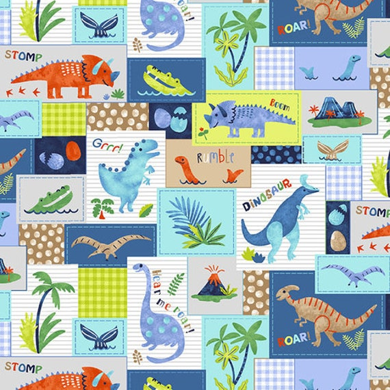 Hear Me Roar Dinosaur Patchwork by Studio E