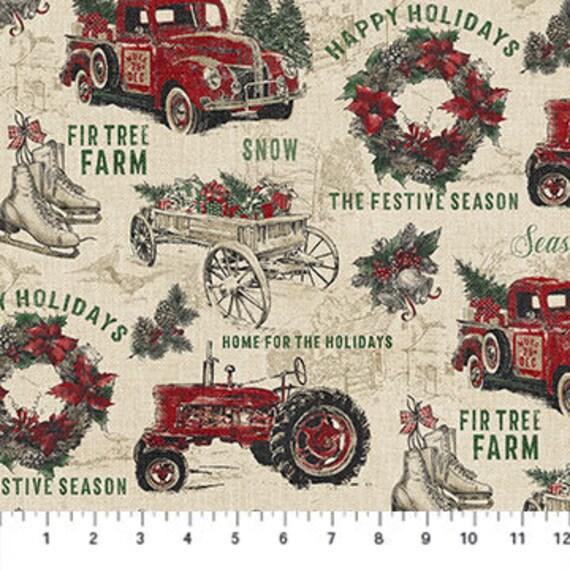 Northcott Vintage Christmas Apron Panel