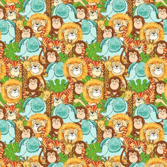 Playful Cuties Safari Animals Flannel Fabric by 3 Wishes