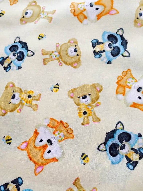 Baby Woodland Critters Owls, Nursery Bears Bees Henry Glass Fabric 9971