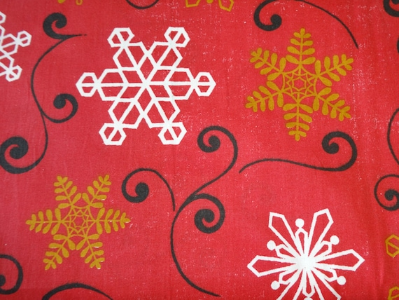 Red w/Snowflakes Fabric  258