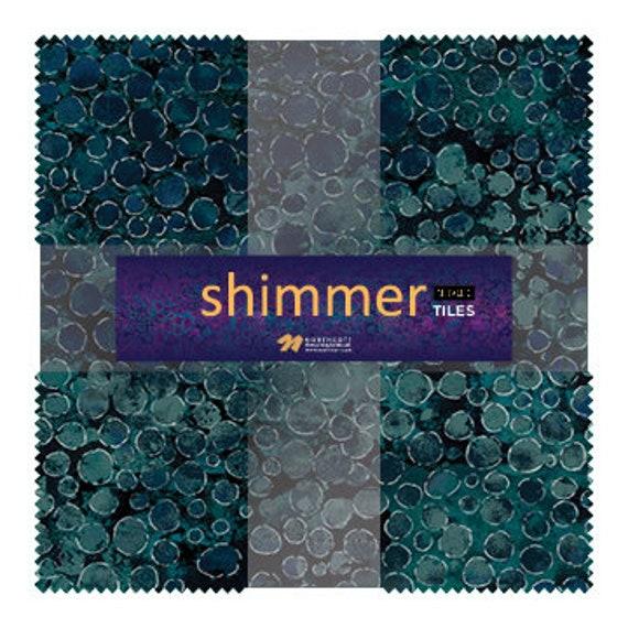 """Northcott Shimmer Metallic Tiles 10"""" x 10"""" Pack"""