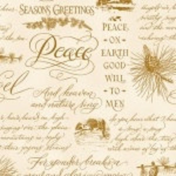 Christmas Elegance Henry Glass Poinsettias Peace Fabric 9935