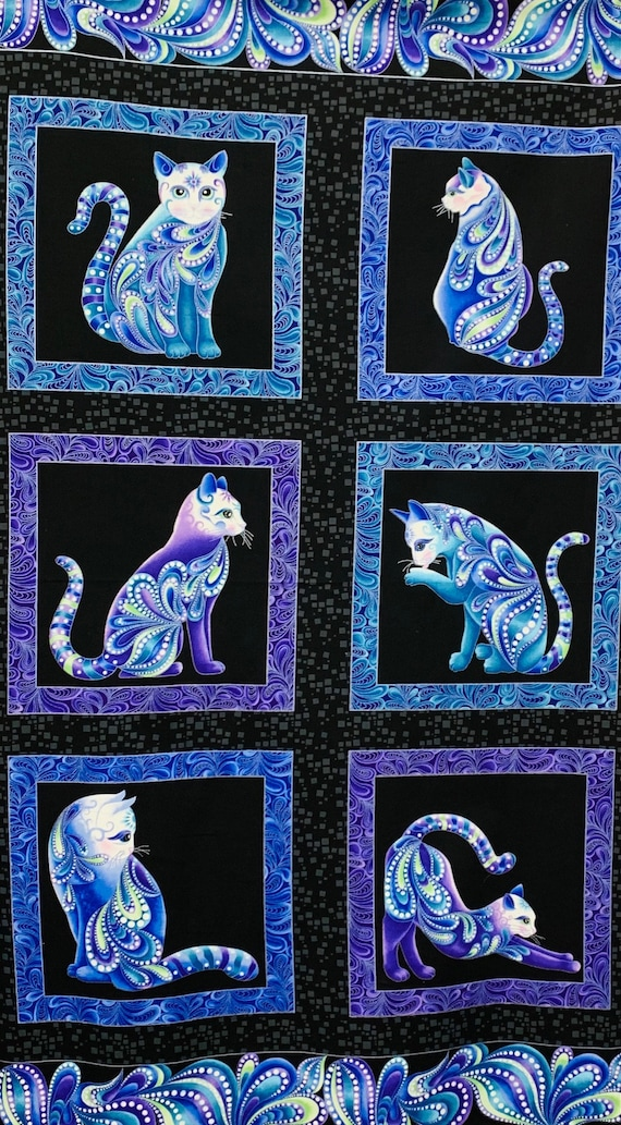 Cat-I-Tude Singing the Blues Fabric by Benartex 1 of 2