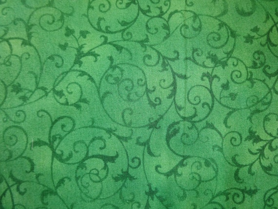 Green Scroll Fabric Pattern Fabric 391