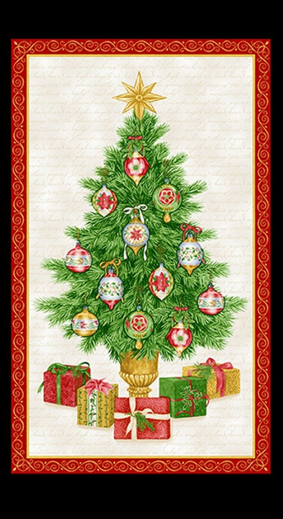 Holiday Henry Glass Christmas Elegance Tree Panel Fabric