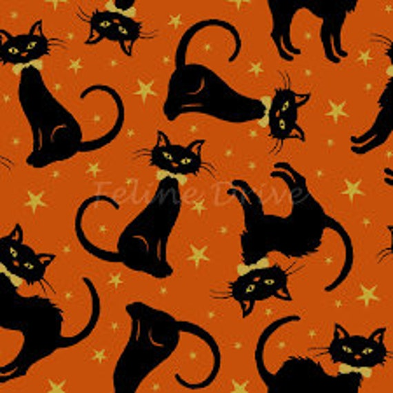 Midnight Spell Metallic Cat Fabric By Henry Glass & Co.