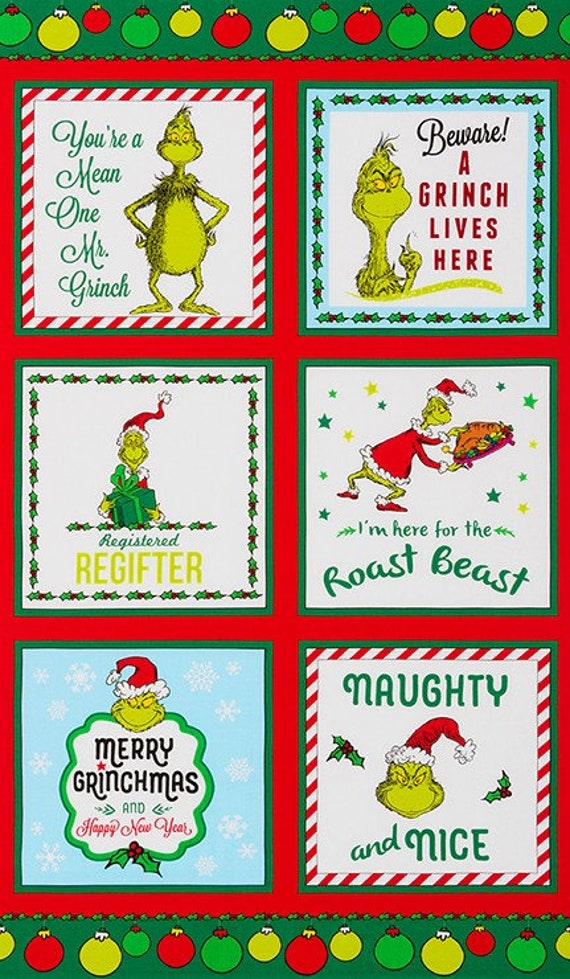 How the Grinch Stole X-Mas by Robert Kaufman Panel