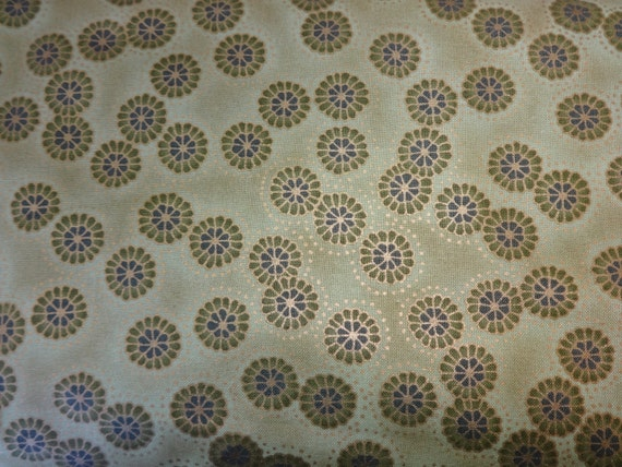 Blank Quilting Green w/Dark Green Flowers Fabric & Gold Trimmings 381