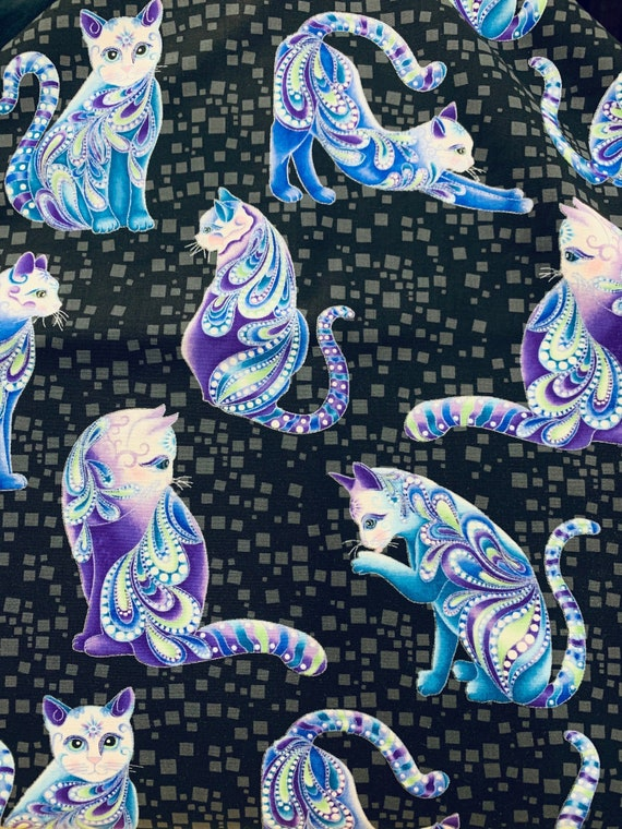 Cat-I-Tude Singing the Blues Fabric by Benartex 2 of 2