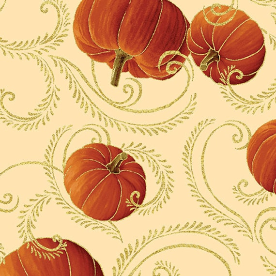 Autumn Splendor Metalic Gold Pumpkin Scroll  Fabric By Kanvas