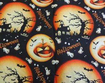 Black Halloween Pattern Fabric w/Pumpkins 570