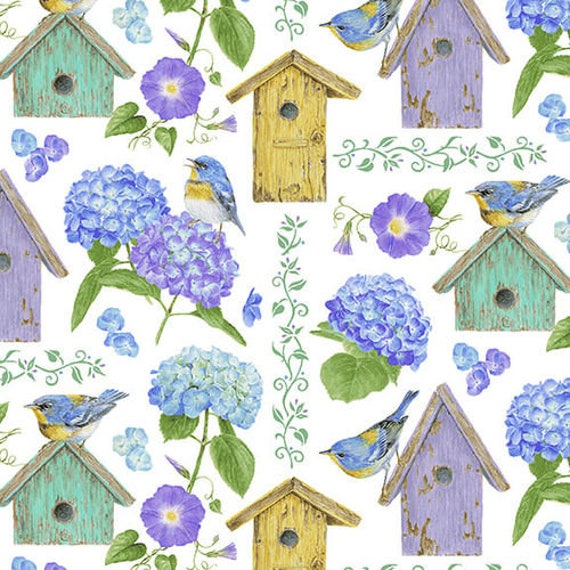 Henry Glass & Co Hydrangea Birdsong Fabric Collection