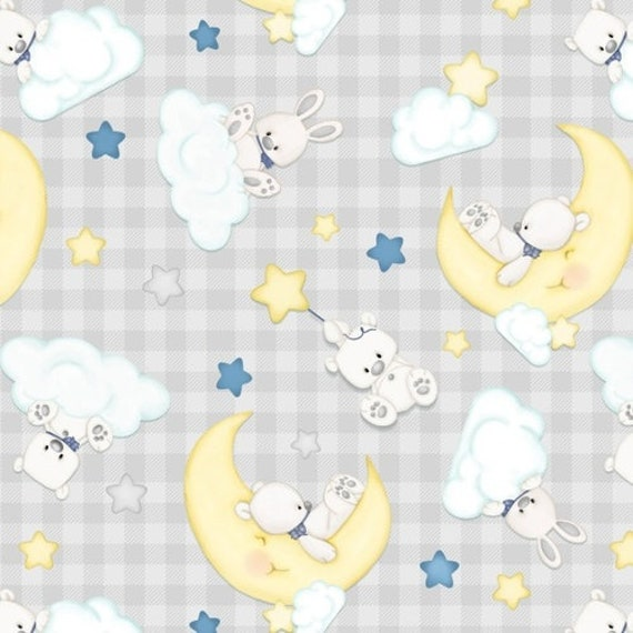 Henry Glass & Co Sleepy Bear Flannel Teddy Bear Moon Fabric