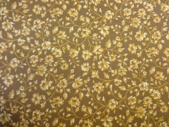 General Fabrics Brown w/Gold Flowers 408