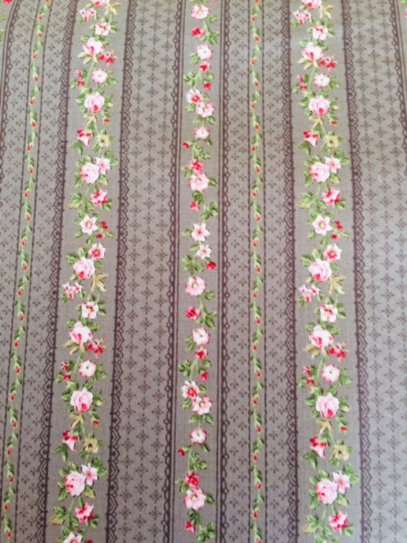Juliet Roses Stripes Fabric by STOF